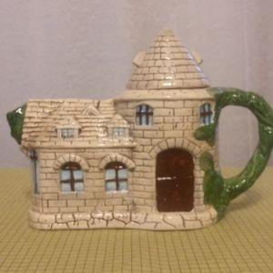 Tea Pot - Charming Brick Cottage w/ Vine Handle